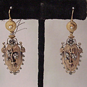 French 18kt. Yellow and Rose Gold Victorian Pierced Earrings with Silver and Seed Pearl Accent