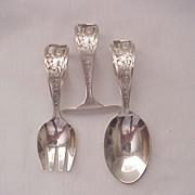 """Shepard Mfg. Co. """"Little Miss Muffet"""" 3 Pc. Baby Flatware Set - Circa 1920"""