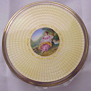 SALE Pastoral Scene Guilloche Enamel & Glass Dresser Jar