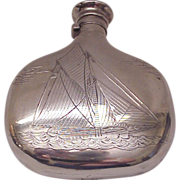 SALE Simpson, Hall & Miller Sterling Flask with Sailboat Motif - Circa 1900
