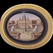 18kt. Gold Scenic Micro-Mosaic / Micromosaic Pin -Vatican Hallmark - Circa 1850