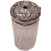 F & B Sterling & Glass Tooth Powder Jar of Paul & Virginia (Lovers on the Swing) - Circa ...