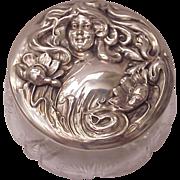 Sterling Art Nouveau & Cut Glass Dresser Jar - Circa 1905