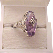 SALE PENDING 14kt. White Gold, Amethyst Filigree Ring with Diamond Accent - Circa 1925