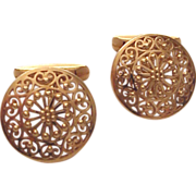 SOLD 19kt. Yellow Gold Open Work Cuff Links - Circa 1970
