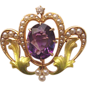 Art Nouveau 14 Kt. Rose Gold, Enamel, Amethyst, Cultured Pearl and Diamond Accent Watch Pin -