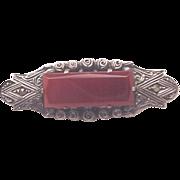 Sterling, Marcasite & Carnelian Pin - Circa 1930