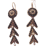 Victorian 14Kt., Onyx and Cultured Pearl Earrings - Circa 1865
