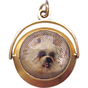 18Kt. Gold Essex Crystal Watch Fob of a Yorkshire Terrier - Circa 1880