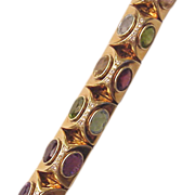 14Kt. Yellow Gold Bracelet with Semi Precious Gems and Diamond Accent - Circa 1990