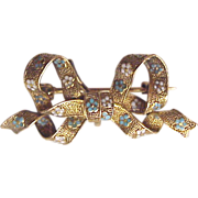 Krementz 14kt. Gold Ladies Figural Watch Pin with White and Blue Enamel Flowers - Circa 1900