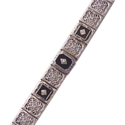 14Kt. Gold and Onyx with Diamond Accent Filigree Bracelet - Circa 1925