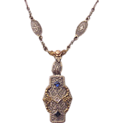 14Kt. Three Color Gold Filigree Necklace with Diamond and Synthetic Sapphire Accent - Circa 19