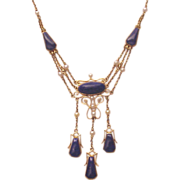 Lapis and 14kt. Gold Festoon Necklace with Cultured Pearl Accent - Circa 1900