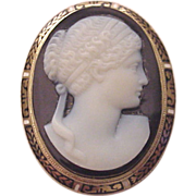 14Kt. Gold and Onyx Cameo Pin with Enamel Accent - Circa 1910