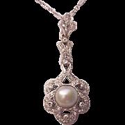 Platinum, Cultured Pearl and Diamond Pendent - Circa 1925