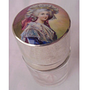 German 935 Silver & Hand Painted Enamel Portrait Salts Bottle Circa 1900