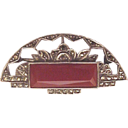 German Sterling, Carnelian and Marcasite Pin - Circa 1930