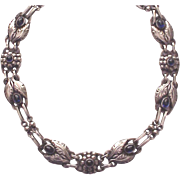 Georg Jensen Sterling and Synthetic Sapphire Necklace # 1 - Circa 1940