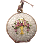 SOLD Sterling and Guilloche Enamel Locket with Two Photo Compartments - Circa 1925