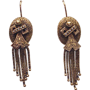 Victorian 14K. Gold Etruscan Revival Earrings - Circa 1875