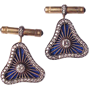 14Kt. Gold, Silver, Guilloche Enamel and Diamond Cuff Links / Cufflinks