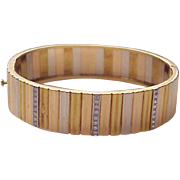 18Kt. Three Color Gold Bracelet with Diamond Accent - Circa 1970