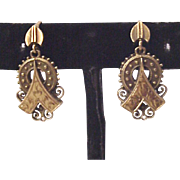 Victorian Two Tone 14kt. Gold Earrings - Circa 1880