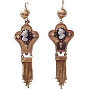 Victorian 14kt. Gold and Onyx Cameo Pierced Earrings - Circa 1885
