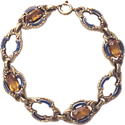 European 14Kt. Yellow Gold and Citrine Bracelet with Enamel Accent - Circa 1950