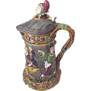 REDUCED Large Minton Majolica Flagon / Pitcher Pattern # 1231 - Date Mark of December 1875