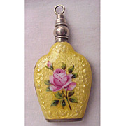 SOLD Beautiful Sterling & Guilloche Enamel Purse Perfume - Circa 1925