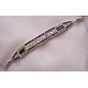 18kt. Gold, Diamond & Synthetic Sapphire Bracelet - Circa 1925