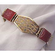 14 Kt. Extreme Art Deco  Multi Colored Gold & Carved Carnelian Bracelet - Circa 1930 - Marked