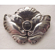 Georg Jensen Sterling Pin # 107 With Labradorite Cabochon - Circa 1925
