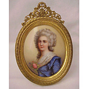 SALE European Hand-Painted Porcelain Plaque in a Dore Bronze Frame - Circa 1900