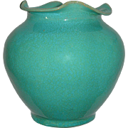 Rare North Carolina Royal Crown Pottery & Porcelain Company Aqua Blue Vase With Ruffled Li