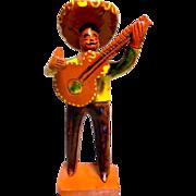 Vintage Mexican Folk Art Mariachi Clay Figure