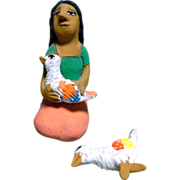Vintage Mexican Folk Art Pottery Girl With Two Chickens signed by Josefina Aguilar