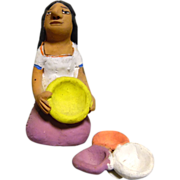 Vintage Mexican Folk Art Pottery Girl With Clay Bowls signed by Josefina Aguilar