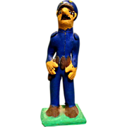 """Vintage Mexican Folk Art Pottery Policeman """"Federales"""" signed by Josefina Aguilar"""