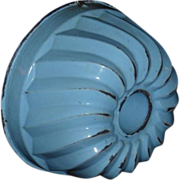 Enamelware Turks Head Mold - Robin Egg Blue - c. 1890
