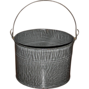 c. 1900 Large Gray Graniteware Berry Bucket - Lunch Pail