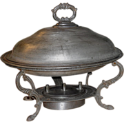 Tin and Iron Chafing Dish - Victorian - Civil War Era c. 1860-70