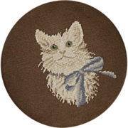 Cat - Needlepoint Covered Foot Stool - c. 1940