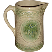 Hull Yellowware Pitcher - Green & Cream - Grazing Cows