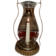 SOLD c. 1890 Tin Candle Lantern with Pie Crust Shade