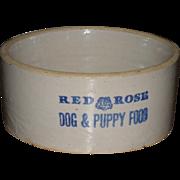 SOLD c.1920 Red Rose Dog & Puppy Food Stoneware Advertising Crock Bowl