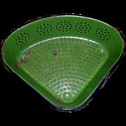 Vintage 1930s Green and Blue Enamelware Sink Strainer / Colander