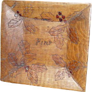Christmas Pyrography - Pins Tray - 1909 Flemish Art
